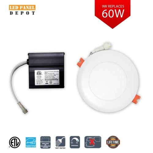 """Premium LED Slim Panel Round 4"""" 9W-3000k-Bronze Trim"""