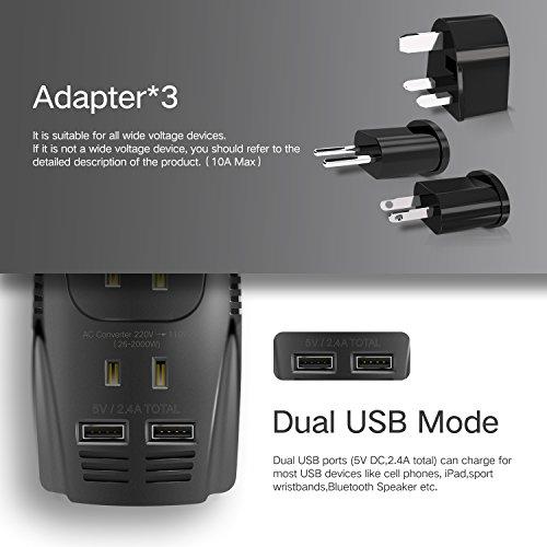 TryAce 2000W Voltage Converter with 2 USB Ports,Set Down 220V to 110V Power