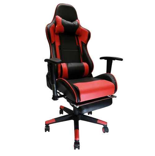 Nicer Furniture Erognomic Racing Gaming Chair with Adjustable Armrest and Footrest Red