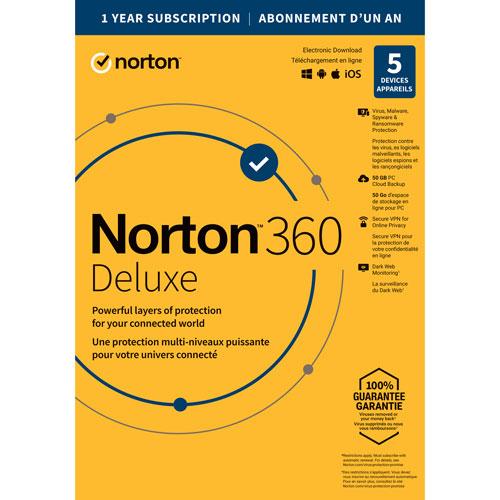 Norton 360 Deluxe - 5 appareils - Abonnement de 1 an avec renouvellement automatique