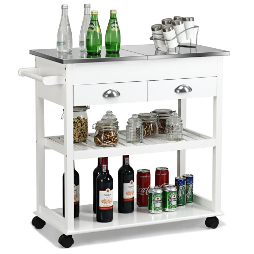 Rolling Kitchen Island Trolley Cart Stainless Steel Flip Tabletop w/Drawer White