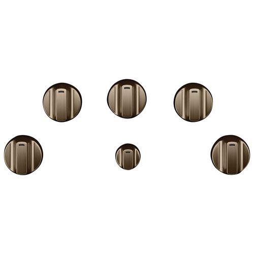 Ensemble de boutons 5 pièces pour surface de cuisson électrique Café - Bronze brossé