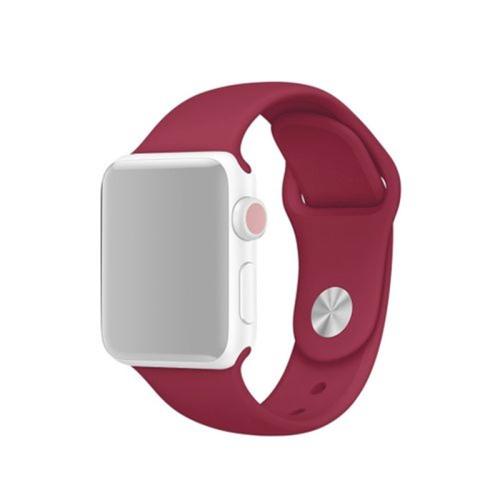 Bracelet de remplacement en silicone souple pour Apple Watch iWatch Series 1 2 3 4 5 6, 38 mm/40 mm, vin