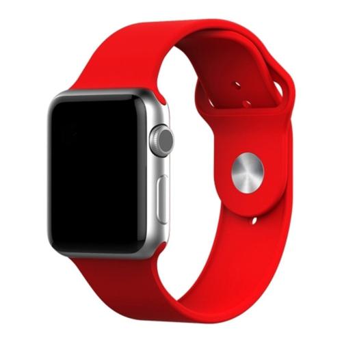 Bracelet de remplacement en silicone souple pour Apple Watch iWatch Series 1 2 3 4 5 6, 42 mm/44 mm, rouge