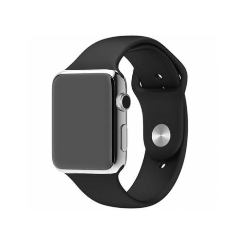 Bracelet de remplacement en silicone souple pour Apple Watch iWatch Series 1 2 3 4 5 6, 38 mm/40 mm, noir