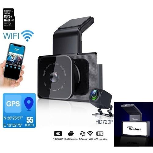 New Version Venture 1080P Car DVR Camera WIFI Speed N GPS Dashcam FHD 1080P Dash Cam 24H Parking Monitor car registrar Night Vision,Loop Recording,Mo