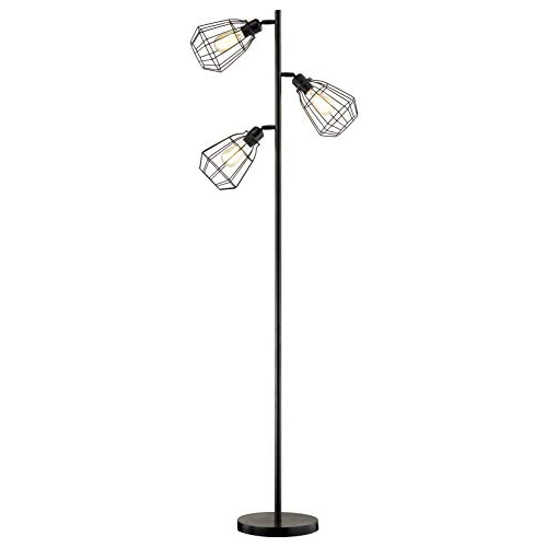 Office LeeZM Modern 3-Light Tree Floor Lamp Black Rustic Bright Tall Standing Up Torchiere Floor Lamps Shade Vintage Industrial Style with Reading Light for Living Rooms Bedrooms