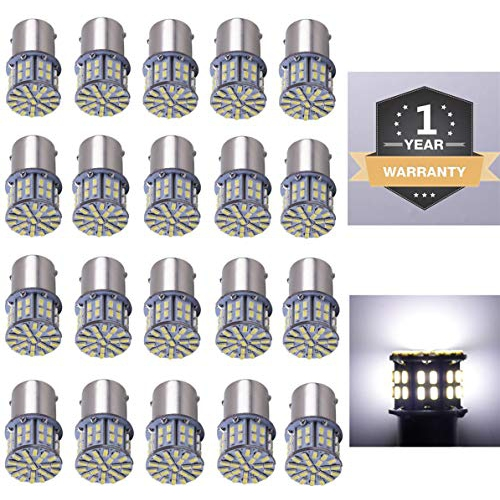 12V DC 10 Pcs Extremely Super Bright 1156 1141 1003 1073 BA15S 7506 LED Replacement Light Bulbs for RV Indoor Lights 6000K Xenon White