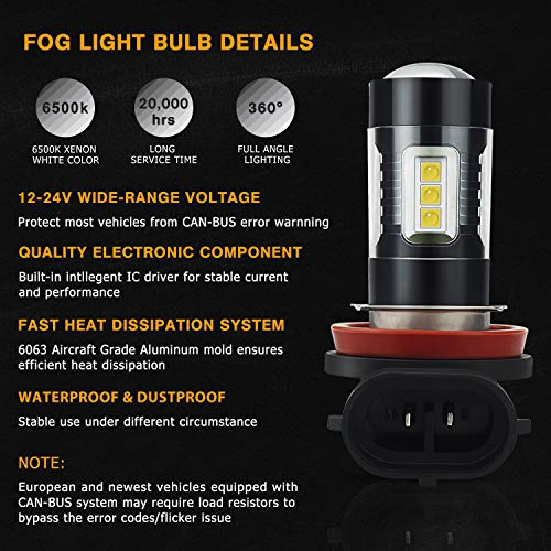 AUXITO H8 H11 LED Fog Light Bulbs Max 80W High Power 1800 Lumens Extremely Bright 6500K Xenon White Replace for Fog Light or DRL,Pack of 2