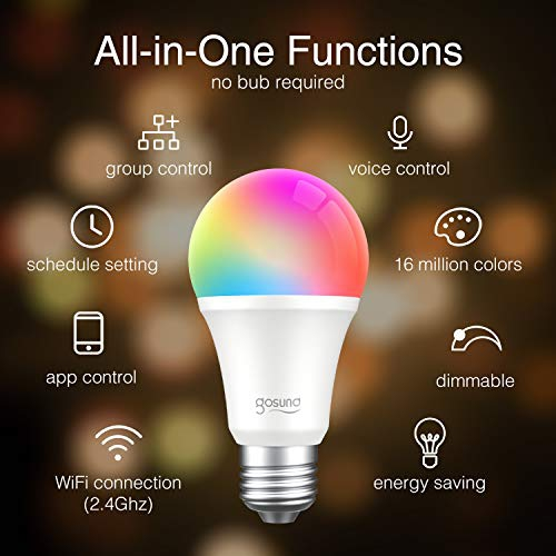 Google Home and IFTTT 4 Pack APP Control A19 65W Equivalent RGB Light Bulb 8W Works with Alexa No Hub Required Gosund Smart LED Light Bulb WiFi Dimmable Muticolor Smart Bulb