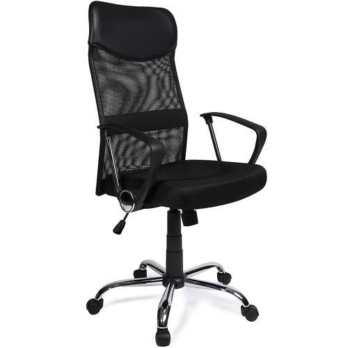 Moustache – Chaise de bureau ergonomique à dossier haut réglable en filet et en similicuir pu, chaise d'ordinateur pivotante, noir