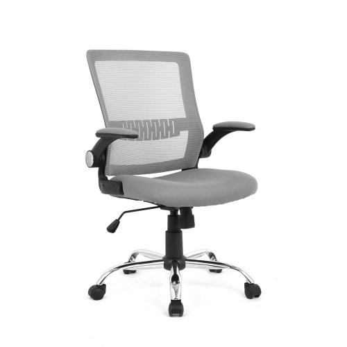 Chaise de bureau à dossier mi-hauteur en maille Moustache Chaise d'ordinateur de bureau ergonomique avec accoudoir rabattable, gris