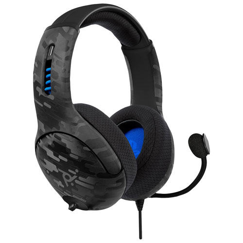 PDP LVL50 Wired Gaming Headset with Microphone for PS4 - Grey Camo