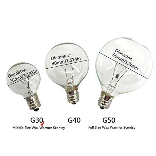 Wax Warmer Bulbs,20 Watt Bulbs For Middle Size Scentsy Warmers,G30 Globe E12 Inc