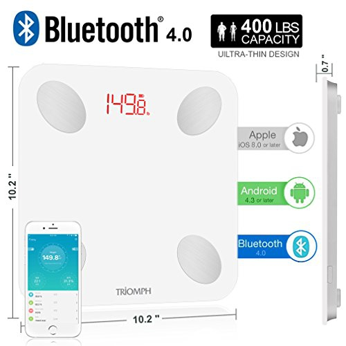 Black USB Charging Body Fat Scale with IOS and Android App Digital Bathroom Scale for Weight Body Fat Bone Mass and Visceral Fat BMI Water Triomph Rechargeable Smart Bluetooth Scale Muscle BMR