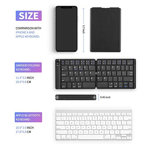 Portable Wireless Keyboard with Stand Holder Rechargeable Ultra Slim Folding Keyboard Compatible iOS Android Windows Smartphone Tablet Foldable Bluetooth Keyboard