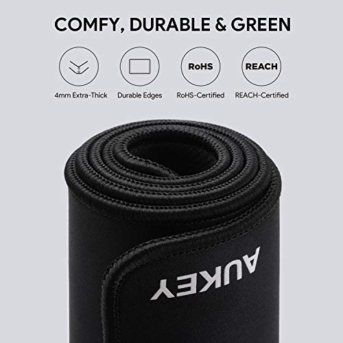 AUKEY Gaming Mouse Pad Large XXL Anti-Fray Stitched Edges for Keyboard 35.4/×15.75/×0.15in Black Thick Extended Mouse Mat Non-Slip Spill-Resistant Desk Pad with Special-Textured Surface PC