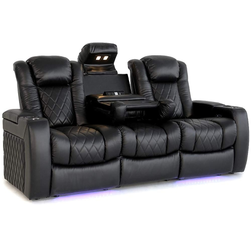 Valencia Tuscany 3-Seat Premium Top Grain Nappa Leather PowerRecliner Home Theatre Seating with Console - Black