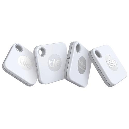 Dispositif de repérage d'article Bluetooth Tile Mate - Lot de 4 - Blanc
