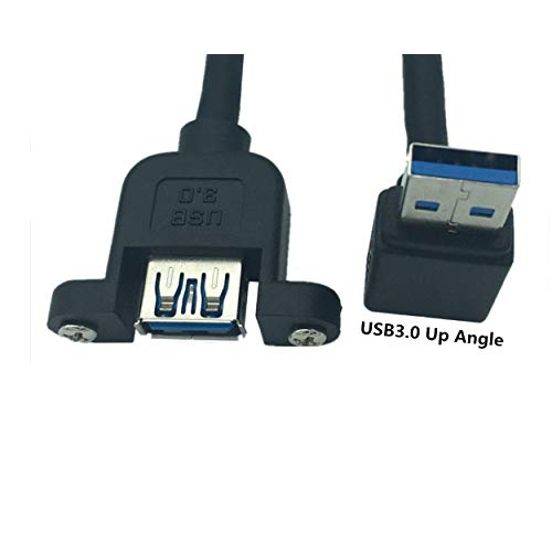 90° Angle USB 3.0 Male to Female Extension Cable with Panel Mount Screw Hole