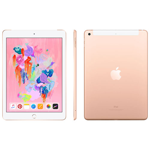 Fido Apple iPad 128GB with Wi-Fi/4G LTE - Gold - Monthly Financing