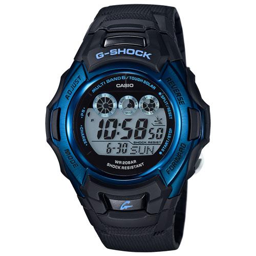 Montre sport numérique solaire 56,8 mm avec chronographe pour hommes G-Shock de Casio - Noir/Bleu