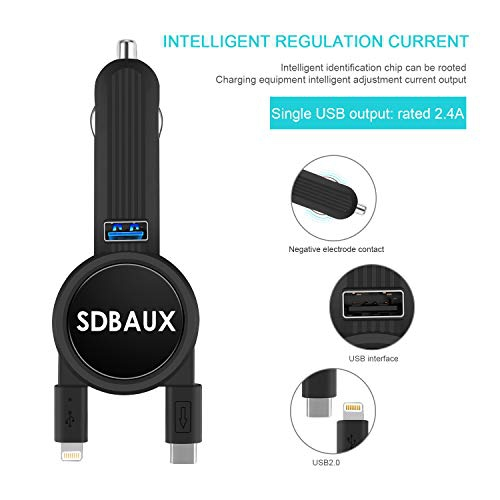 Car Charger,SDBAUX Quick Charge with 2.3FT Dual Retractable