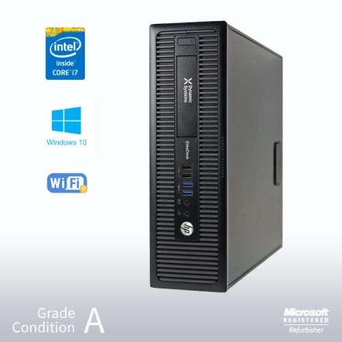 Refurbished HP ProDesk 800 G1 SFF Desktop, Intel i7 4770 3.4GHz/12GB /NEW 480GB SSD/ DVD/ Win10 Pro/Fast AC 600 WiFi USB