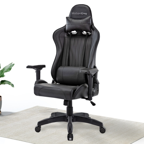 MotionGrey Enforcer - Office Gaming Chair, Comfortable, Ergonomic, High Back, Racing Style, Leather, Reclining Computer Executive Desk Chair with Hei