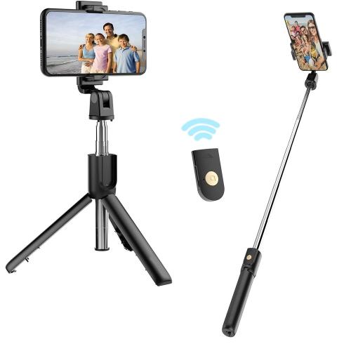 Support de tr/épied pour t/él/éphone pour iPhone 12 Pro Max // 11 // XS Max//X // 8P // 7P // 6S Selfie Stick,Extensible Selfie Stick avec t/él/écommande sans Fil Galaxy S21 // S10 // Note 10 GL et Plus,Noir