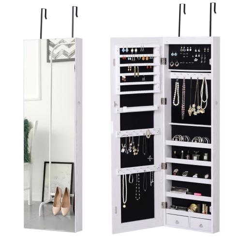 HOMCOM Full Length Mirror Jewelry Cabinet, 6 LEDs Jewelry Cabinet