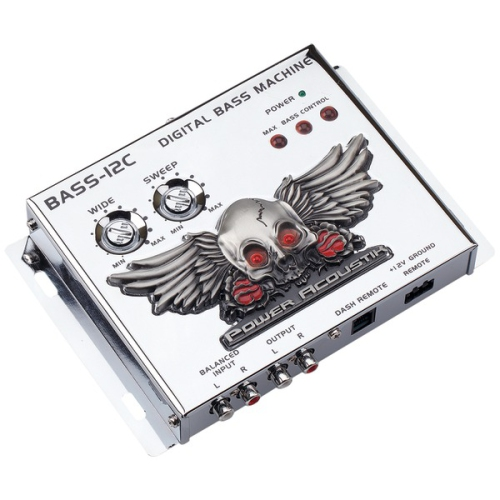 Power Acoustik BASS-12C BASS-12C Digital Bass Machine with Chrome Finish & Subsonic Filter