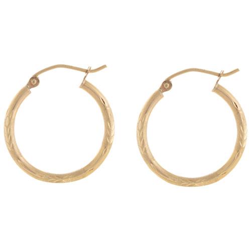 Le Reve Round Hoop Earrings in 10K Yellow Gold
