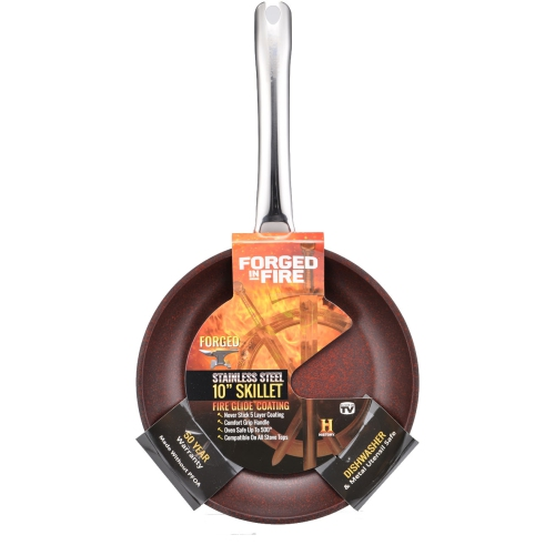 HISTORY Stainless Steel Skillet Forged in Fire 10-Inch with 5 Layer Fire Glide Never Stick Coating