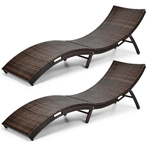 Gymax 2pcs Patio Folding Rattan Lounge, Pool Chaise Lounge Chairs Canada
