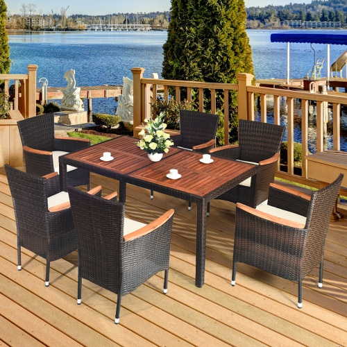 Costway 7 Piece Modern Classic Rattan Patio Dining Set W Large Acadia Wood Table 6 Stackable Cushioned Wicker Chairs 7pcs Best Buy Canada