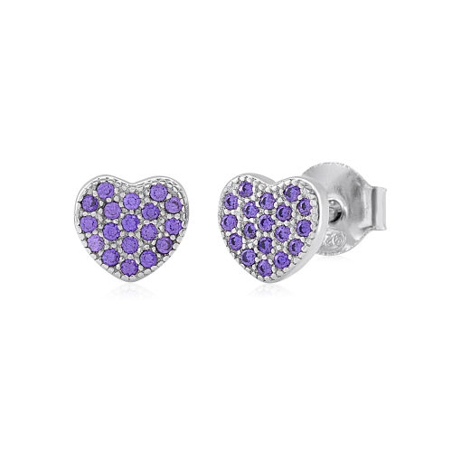 Sterling Silver Cz Pave Heart Post Earrings