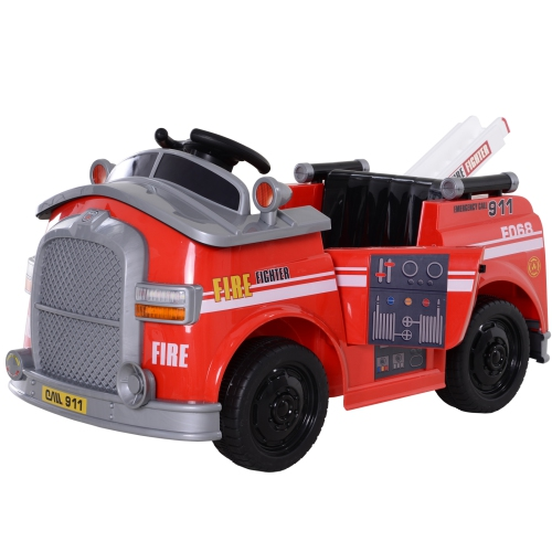 Aosom Kids Ride-On Fire Truck Car Pretend Play Toy Car 6V, Red