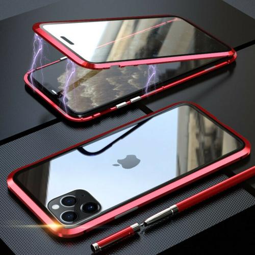 Magnétique Coque Métallique pour iPhone 11 PRO MAX, Coque Intégrale Double Face 360 Protection en Verre Trempé avec Cadre Métallique (Rouge)