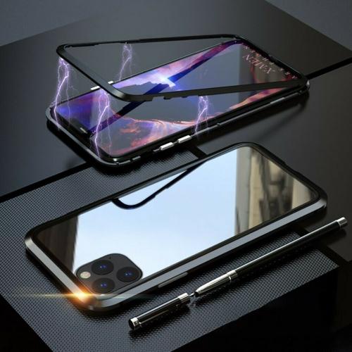 Magnétique Coque Métallique pour iPhone 11 , Coque Intégrale Double Face 360 Protection en Verre Trempé avec Cadre Métallique (Noir)