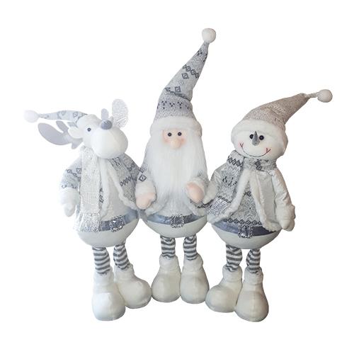 Christmas 3 Giant Trio Deco - White and Silver Snowman, Moose, Santa