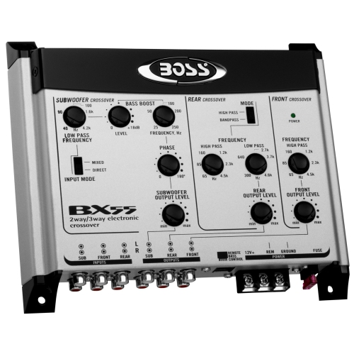 THD 0.010 Variable Bass Boost Boss Audio Bx55 2//3 Way Pre-amp Car Electronic Crossover with Remote Subwoofer Control Maximum Input Voltage 4.5 Volts Maximum Output Voltage 9 Volts S//N Ratio 110 Db