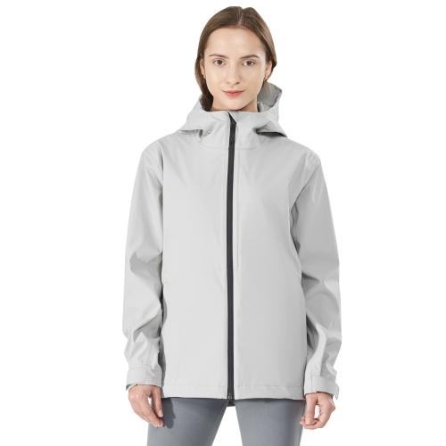 Goplus Women's Waterproof Rain Jacket Windproof Hooded Raincoat Shell with Velcro Cuff Grey