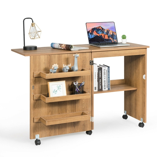 Gymax Folding Sewing Craft Table Shelf Storage Cabinet Home Furniture W Wheels Natural Best Buy Canada