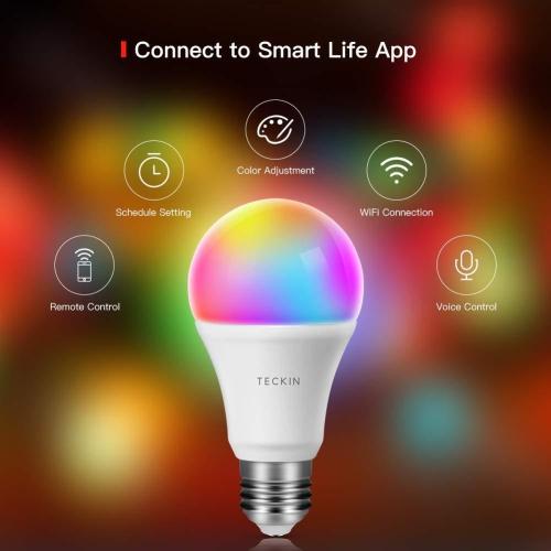 TECKIN Smart LED Bulb WiFi E27 Dimmable Multicolor Light
