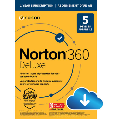 Norton 360 Deluxe - 5 Devices - 1-Year Subscription w/Auto Renewal - Digital Download