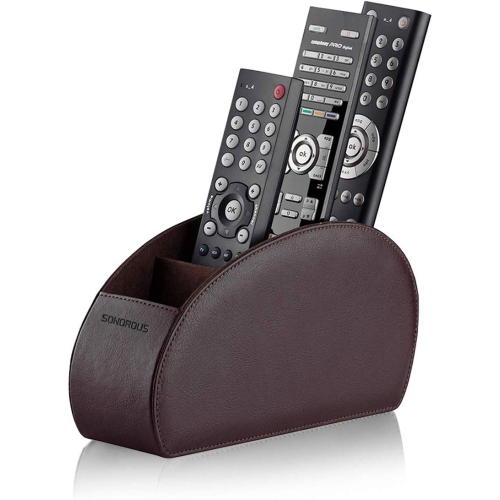 Remote Control Holder with 5 Compartments - Leather TV Remote Organizer by SONOROUS