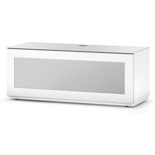 """SONOROUS Studio ST-110B Wood and Glass Modern TV Stand with Hidden Wheels for Sizes up to 65"""" - White"""