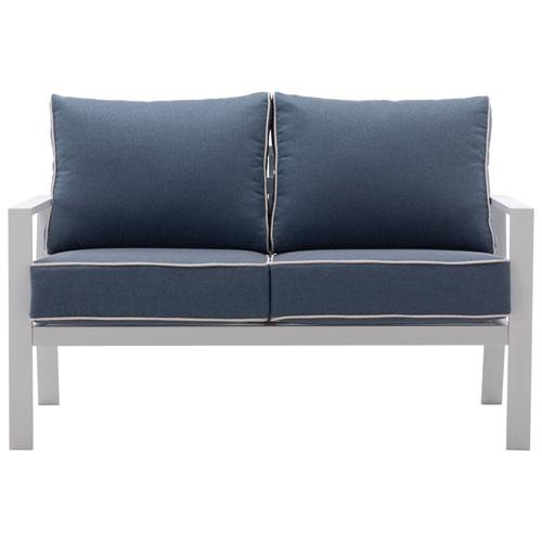 Causeuse de patio en aluminium Portofino - Blanc/bleu