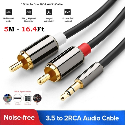 50ft Premium RCA Male to Male M//M Gold Plated A//V Audio Video Subwoofer Cable